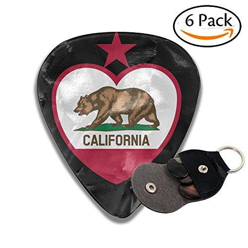 Yolov Clipart California Flag Heart Top Celluloid Guitar Picks Plectrums Guitar Bass Accessories, 6 ()