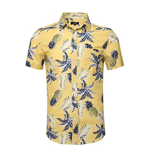 NUTEXROL Men's Pineapple Button Down Short Sleeve Casual Hawaiian ShirtYellow 2XL (Best Beach Wedding Attire)