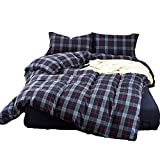 CLOTHKNOW Full/Queen Duvet Cover Plaid Dusty Blue Luxury Percale Cotton Plaid Pattern Geometric Gingham Bedding Sets Pack of 3-1 Duvet Cover Zipper 2 Pillow Shams NO Comforter