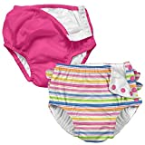 i play 2-Pk Absorbent Girls Reusable Baby Swim Diapers Stripe and Hot Pink 24M