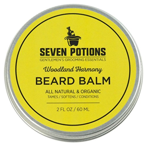 Seven Potions Beard Balm 2 oz. 100% Natural, Organic with Jojoba Oil. Makes Your Beard Soft, Stops Beard Itch, Leaves it Nourished, Naturally Shiny & Healthy (Woodland Harmony) by Seven Potions