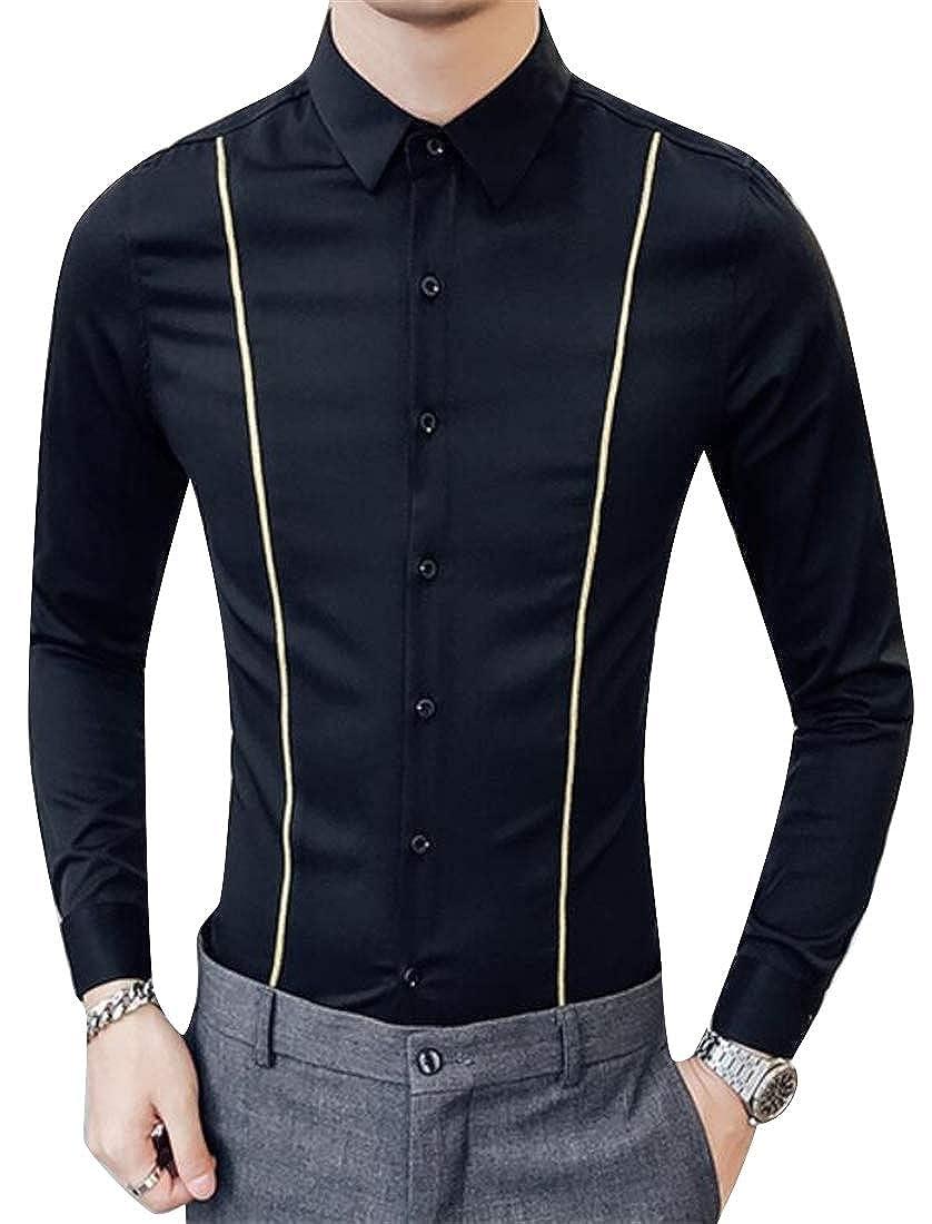 YYear Mens Groomsman Regular Fit Formal Long Sleeve Lapel Button Down Dress Shirts