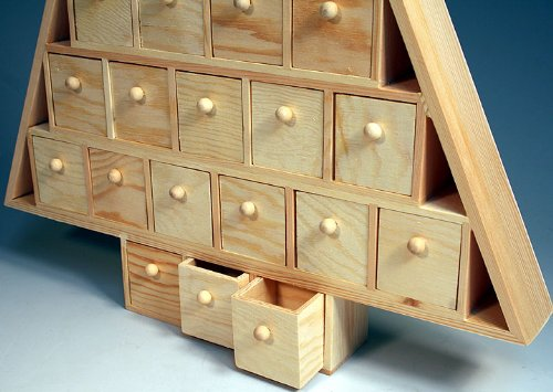 Wood Advent Tree Featuring 24 Removable Box Drawers Ready To Paint Unfinished