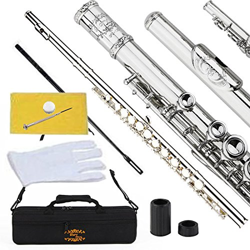 Engraved Glory Closed Hole C Flute for Band , Orchestra, With Case, Tuning Rod and Cloth,Joint Grease and Gloves , Engraved Silver Nickel Color flute by GLORY