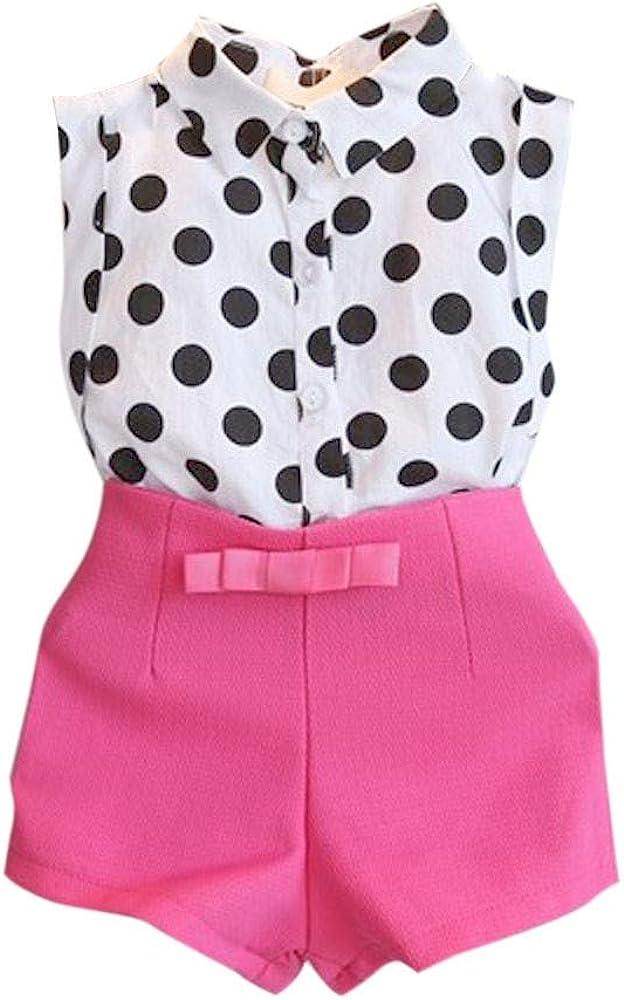 Baby Shorts Set MITIY Girl Child Kid Polka Dot T-Shirt Tops + Pink/Black Bowknot Pants Shorts 1Set