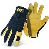 CAT Premium CAT012205M Black/Tan Leather Palm Work Gloves With Gel Padded Palm, Medium