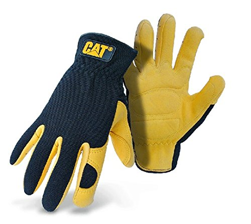 CAT Premium CAT012205L Black/Yellow Leather Palm Work Gloves With Gel Padded Palm, Large