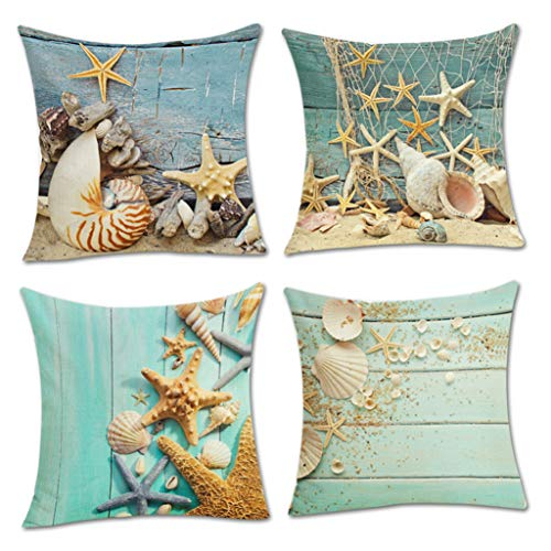 Tgzme 4 PCS Ocean Theme Style Decorative Throw Pillow Cover Case 18