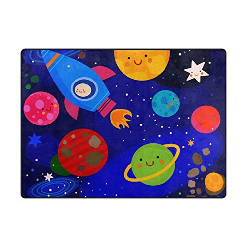 Play Red Carpet (Vantaso Door Mats Non Slip Rugs Blue Space Sun Green Pink Red Planets Stars Rocket Play Mats Carpets for Kids Playing Room Living Room Soft Foam Kitchen Rugs 80 x 58 inch)