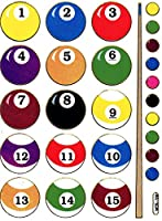 Billiard Kugeln Pool Snooker Aufkleber 1 Blatt 135 mm x 100 mm Sticker...