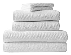 Coyuchi 1020831 Air Weight 6 Piece BT, HT, WC Towel Set, Alpine White, 6