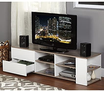 Merveilleux Modern Tv Stands For Flat Screens White Entertainment Media Console Wood 60  Inch