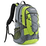 Gonex 40L Backpack for Hiking Camping Outdoor Trekking Daypack, Waterproof Backpack Cover included (Green+Grey)