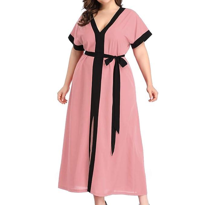 Amazon.com: Plus Size V Neck Short Sleeve Bandage Dress for ...