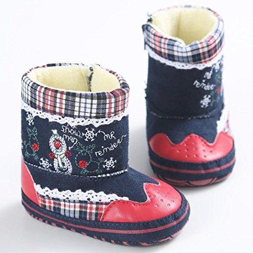 Babyschuhe Longra Baby Madchen Jungen kinder Schneemann-Druck weiche Sohle Krippeschuhe Winter-Kleinkind Stiefel Schuhe( 0-18 Monate)
