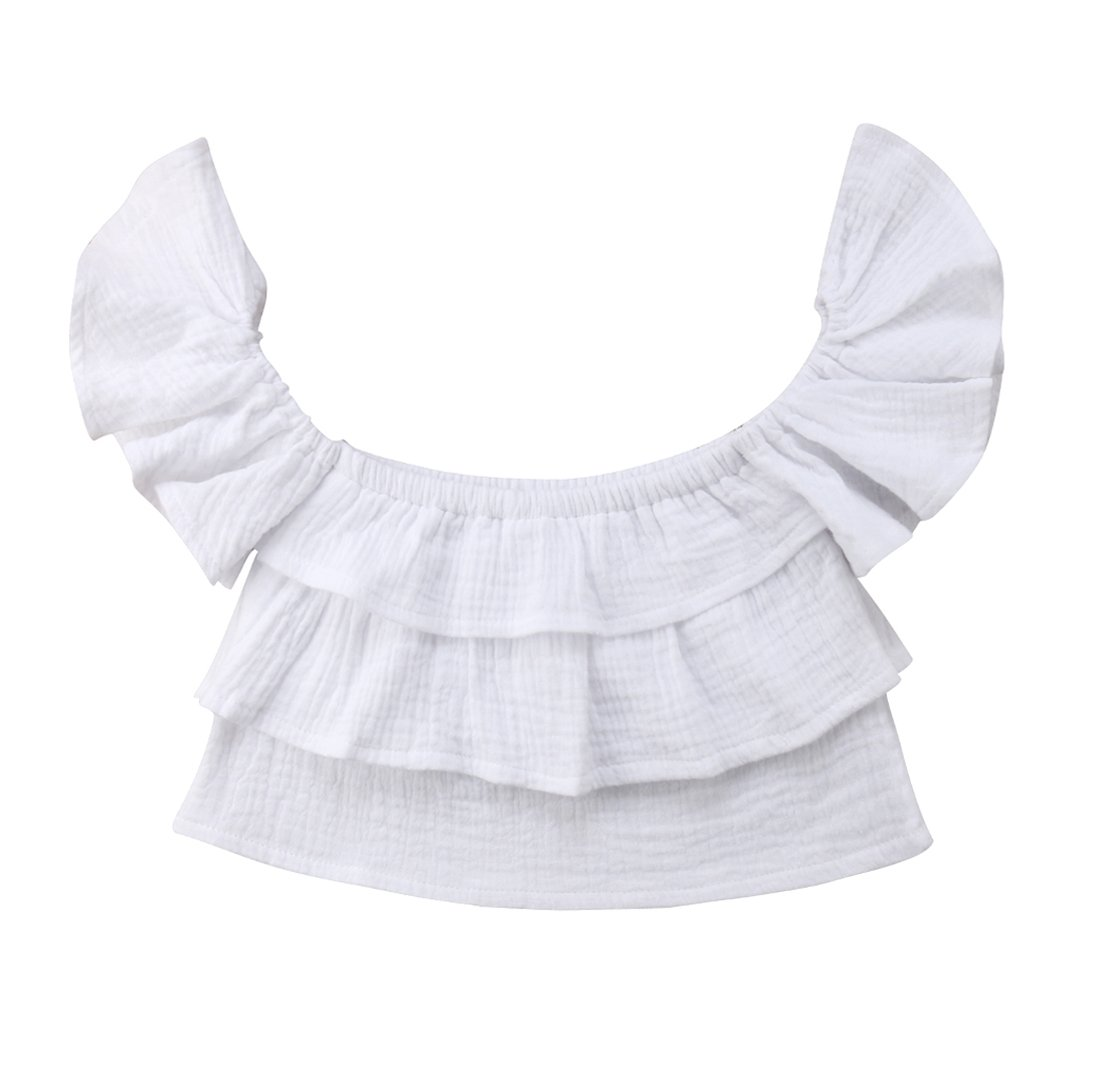 2017 Baby Girls White Off Shoulder Ruffle Blouse