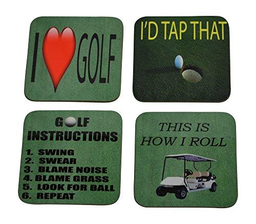 Set Coaster Golf - Golf Drink Coaster Set Gift For Golfer Golfing Joke Funny Home Kitchen Barware