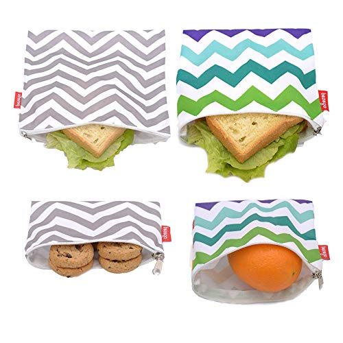 - 4 PCS Reusable Sandwich & Snack Bags, Eco Friendly and Safe Sandwich Bags, Washable Lunch Bags
