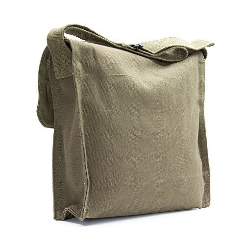 LGBT Love (Rainbow Heart) Army Heavyweight Canvas Medic Shoulder Bag in Olive & White by Grab A Smile (Image #3)