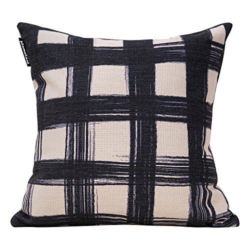 Pramarant Plaid Square Cotton Linen Decorative Throw Pillow