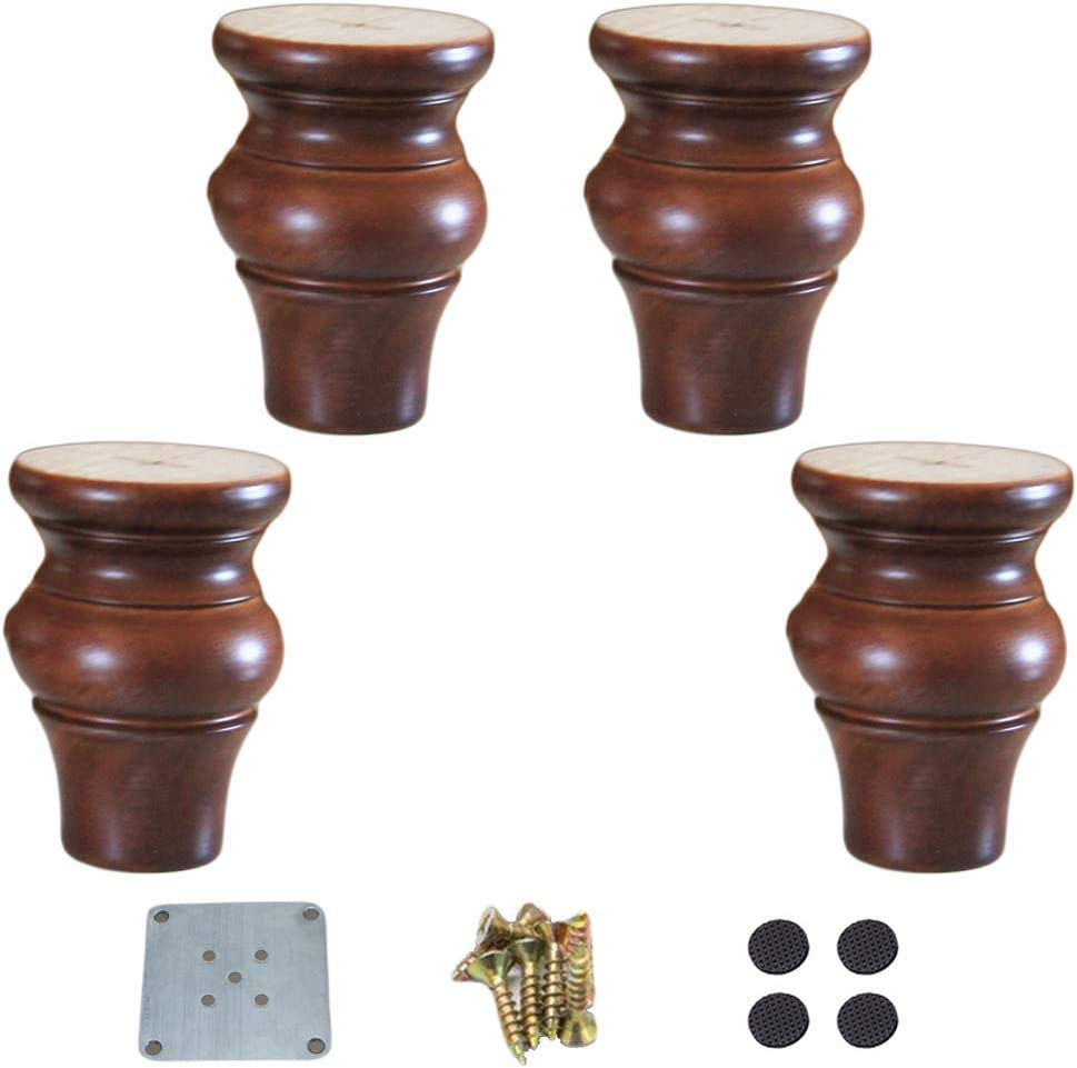 APAN 4 Solid Wood Sofa bun Feet,Round Replacement Cabinet Legs,Gourd Shape Kitchen Furniture Foot,for Couch,Ottoman,TV Stand,Dresser,Coffee Table,Bed,with Mounting Plate,Screw,Non-Slip mat(brown10cm)