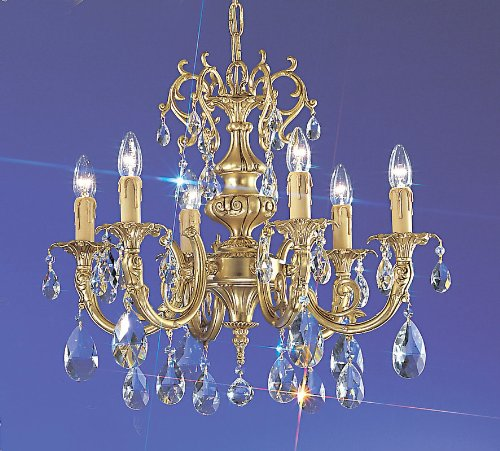 Classic Lighting 5706 SBB SC Princeton, Crystal Cast Brass, Chandelier, 24