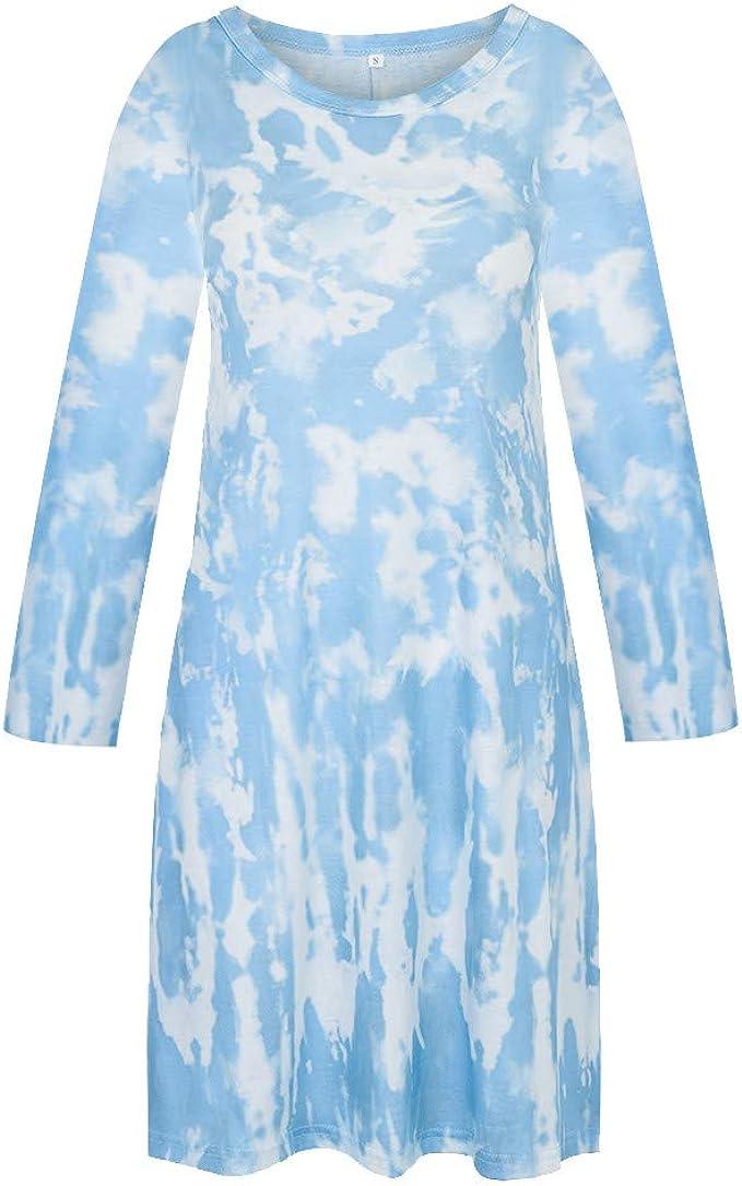 Sunhusing Womens Round Neck Sleeveless Camisole Dress Gradient Tie-Dye Striped Print Casual Bohemian Maxi Dress