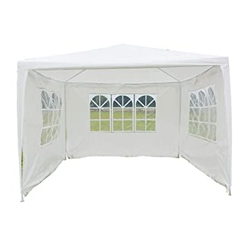 Lovinland 3 x 3m Outdoor Party Tent Three Sides Waterproof Tent Canopy with Spiral Tubes White