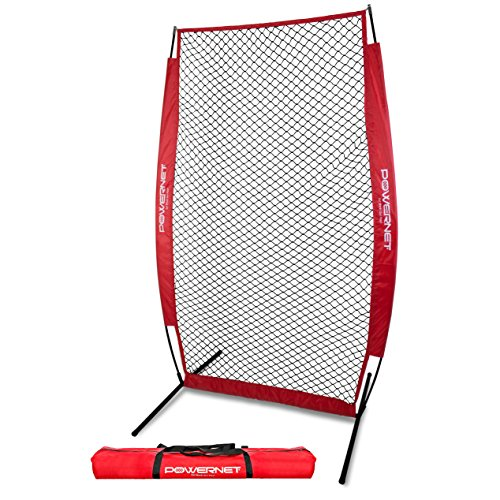 PowerNet I-Screen with Frame and Carry Bag (Red) | Portable Baseball Pitcher Protection at Batting Practice | Instant Player and Coach Protector from Line Drives Grounders | Heavy Duty Netting