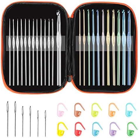 [해외]멀티 컬러 메탈릭 크로셰 후크 세트 아톰 테크 아트 알루미늄 뜨개질 바늘 실크 공예 세트 실리쉬 보관 가방 스티치 마커 및 큰 아이 바늘 / Multi-Color Metallic Crochet Hooks Set, Tomorotec Art Aluminum Knitting Needles for Yarn Craft SetS...