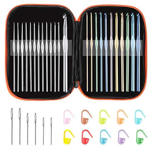 Multi-Color Metallic Crochet Hooks Set, Tomorotec Art Aluminum Knitting Needles for Yarn Craft Set with Sylish Storage Bag, Stitch Markers and Big Eye Needles