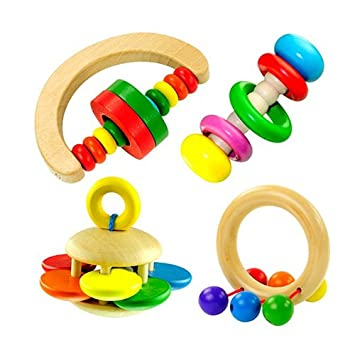 Baby Wooden Rattle Bell Toy Handbell Musical Education Percussion Instrument JB
