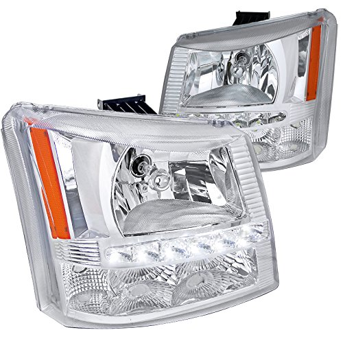 Silverado 1 Piece Headlight (Spec-D Tuning 2LH-SIV03-RS Chrome Headlight (Crystal Housing With Led 1 Piece Design))