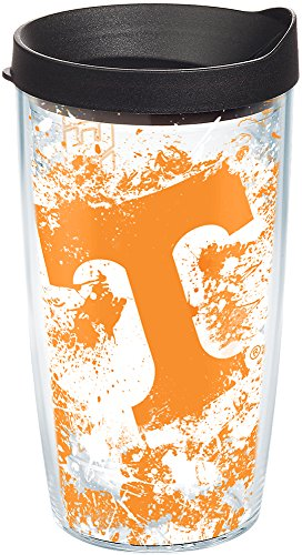 (Tervis 1140200 Tennessee Volunteers Splatter Tumbler with Wrap and Black Lid 16oz, Clear)