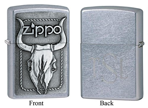 (Personalized Zippo Bull Skull Emblem Street Chrome Lighter with Free Roman Monogram)