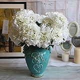 Duosuny Artificial Silk Fake 5 Heads Flower Bunch Bouquet Home Hotel Wedding Party Garden Floral Decor Hydrangea (white)