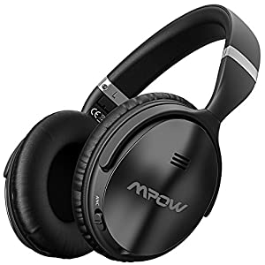 Mpow Active Noise Cancelling Bluetooth Headphones Over Ear, Foldable Headset, Never Power off with Backup Audio Cable, Stereo Headphones Bluetooth Headset with Mic for PC/Cell Phones/TV