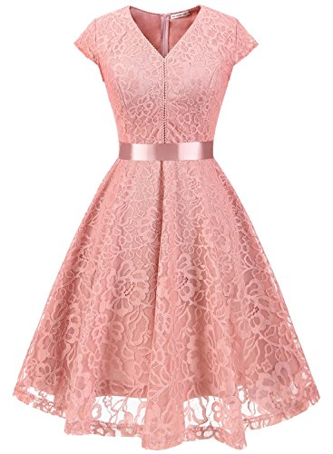 Elegant Pink Lace (MUADRESS 6004 Women V-Neck Bridesmaid Dress Cap-Sleeve Floral Lace Slim Dress Blush L)