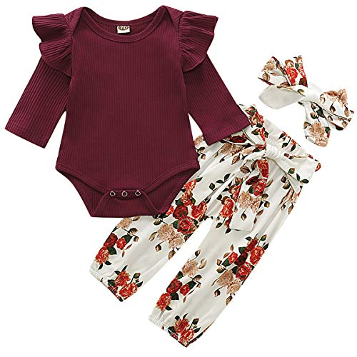 WESIDOM 3PCS Newborn Baby Girl Outfits,Infant Long Sleeve Ruffle Tops Romper Bodysuit and Floral Pants Clothes with Headband WineRed (Clothing Boutique Girl Baby)