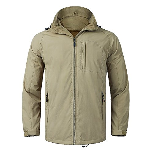 WULFUL Men's Waterproof Windproof Windbreaker Jackets Lightweight Outdoor Softshell Causal Jacket