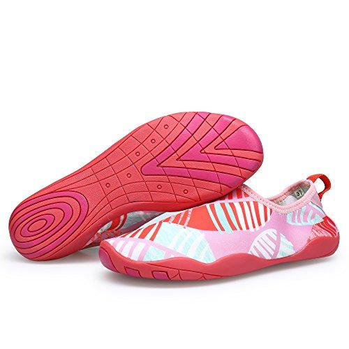 SIKELO Leichte Männer und Frauen Quick-Dry Sport Wasser Schuhe Blatt Rosa