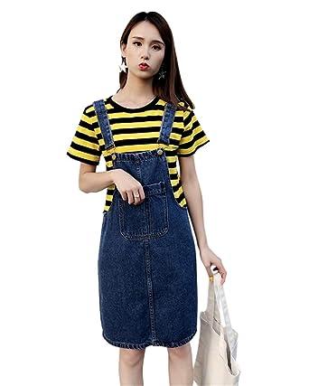 Aimeely Vintage Women Knee Length Overall Jean Dress ...