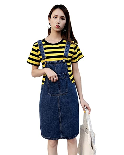 bbd75d32fd8 Aimeely Women Knee Length Overall Jean Dress Suspender Denim Skirt Plus  Size L