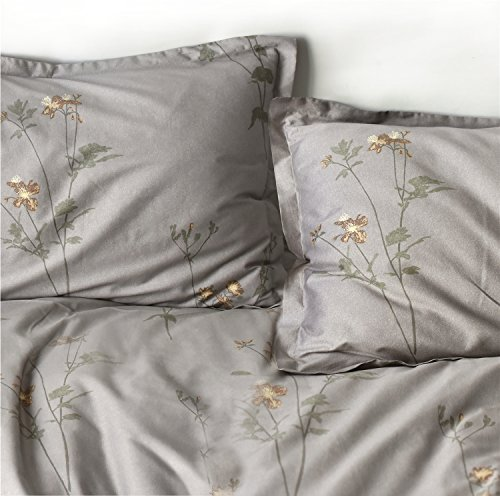 Vintage Botanical Flower Print Bedding 400tc Cotton Sateen Romantic Floral Scarf Duvet Cover 3pc Set Colorful Antique Drawing of Summer Lilies Daisy Blossoms (King, Stone)