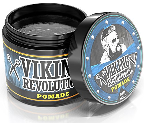 BEST DEAL Pomade for Men 4oz - Firm Strong Hold & High Shine for Classic Styling - Water Based & Easy to Wash Out by Viking Revolution (Gell Well)