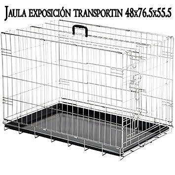 Suinga - Portador Jaula exposición Plegable Metálica para Mascotas para Perros Gatos con Bandeja. Tamaño 48 x 76.5 x 55.5 cm. Fabricado en España.