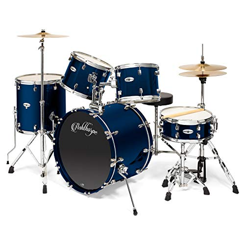 Ashthorpe 5-Piece Full Size Adult Drum Set with Remo Heads & Premium Brass Cymbals - Complete Professional Percussion Kit with Chrome Hardware - Blue ()