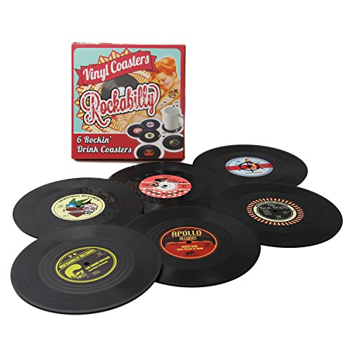 Coasters Set of 6 Colorful Retro Vinyl Record Disk Coaster for Drinks with Funny Labels - Desktop Protection Prevents Furniture Damage - Tabletop Drink ()