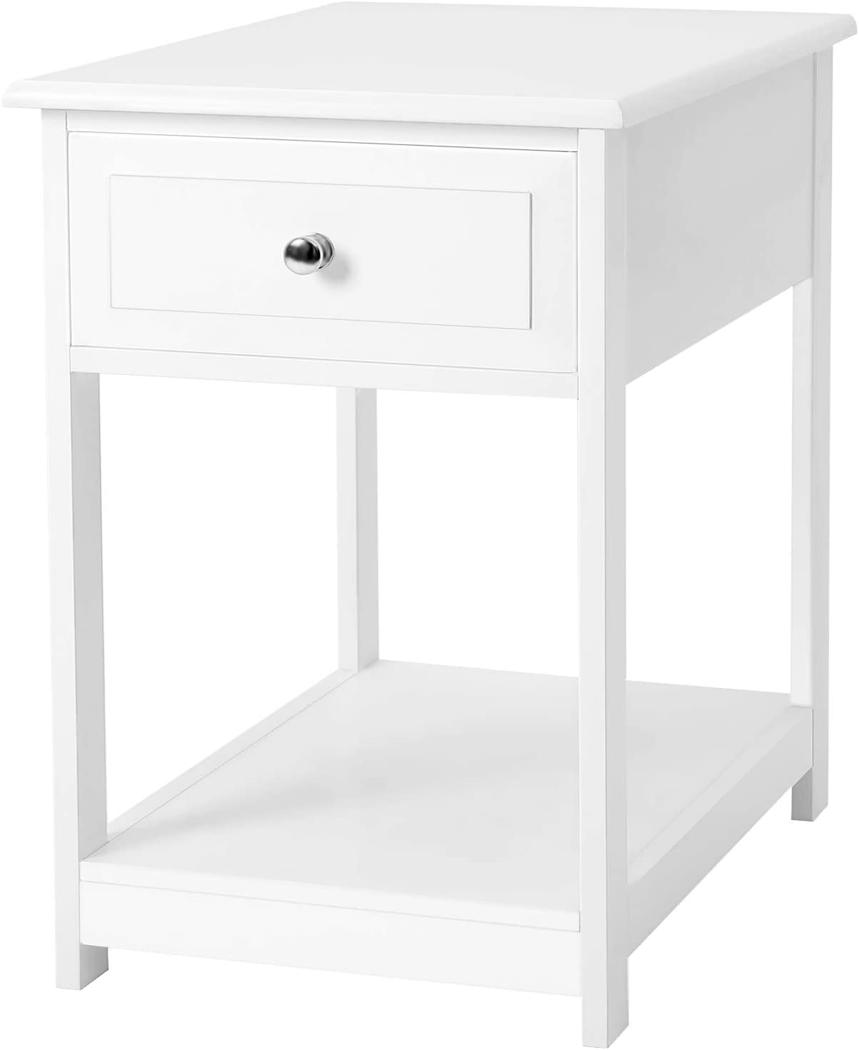 VASAGLE Side, End Table, Nightstand with 1 Drawer, Durable, for Bedroom, Living Room, Office, White