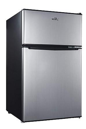 Willz 3 1 Cu Ft Refrigerator Dual Door True Freezer, Stainless Steel